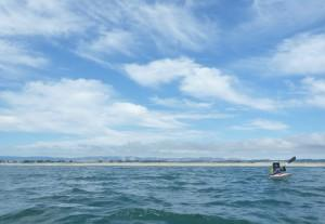 Nancy at home in a kayak on Monterey Bay